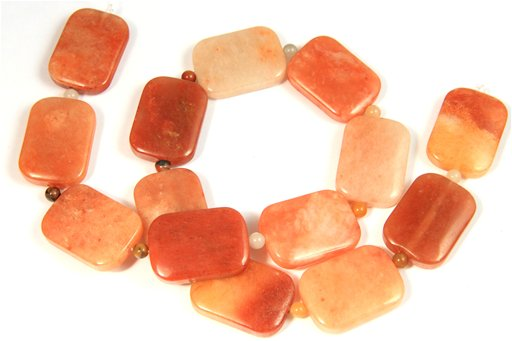 Oranginite, 18x25mm, Puff Rectangle Shape Beads