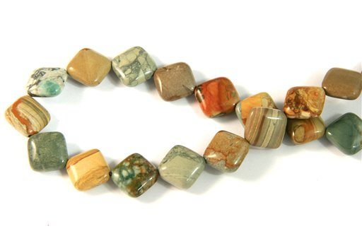 Owyhee Picture Jasper, 12mm, Puff Diamond Shape Beads