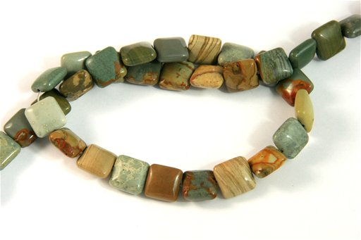 Owyhee Picture Jasper, 10mm, Puff Square Shape Beads