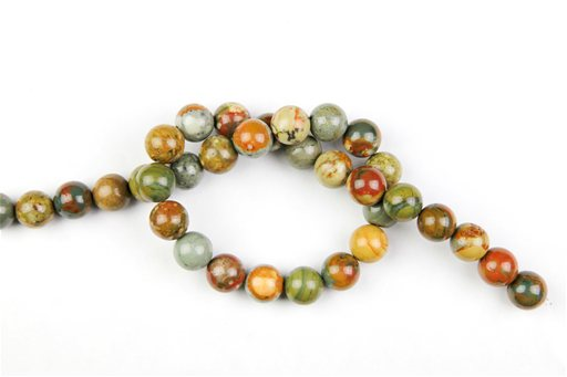 Owyhee Picture Jasper, 12mm, Round Shape Beads