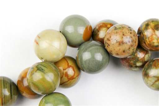 Owyhee Picture Jasper, 14mm, Round Shape Beads