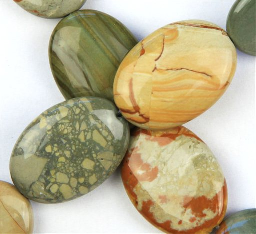 Owyhee Picture Jasper, 18x25mm, Oval Shape Beads