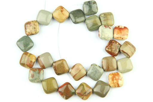 Owyhee Picture Jasper, 14mm, Puff Diamond Shape Beads