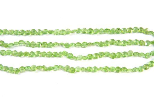 Peridot, 4mm, Faceted Coin Shape Beads