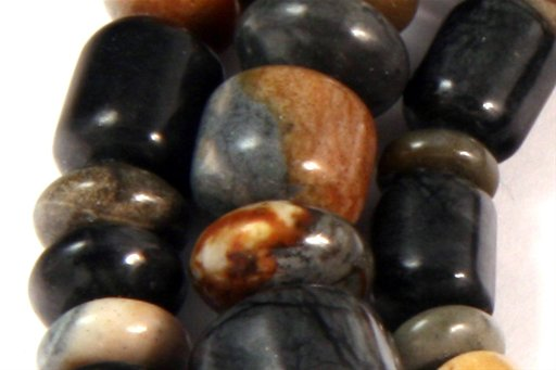 Picasso Jasper, 3-10mm, Barrel Rondelle Assorted  Shape Beads