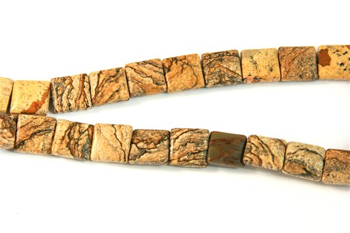Picture Jasper, 14mm, Puff Square Shape Beads