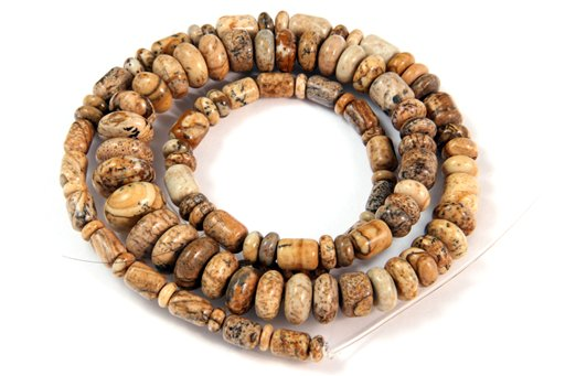 Picture Jasper, 3-10mm, Barrel Rondelle Assorted Shape Beads