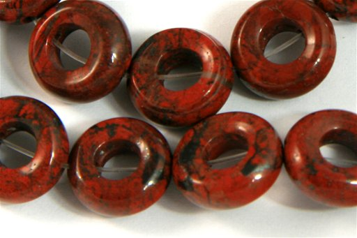 Poppy Jasper, 12mm, Donut Shape Beads