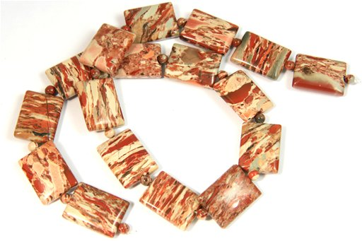 Rainbow Brecciated Jasper, 15x20mm, Puff Rectangle Shape Beads