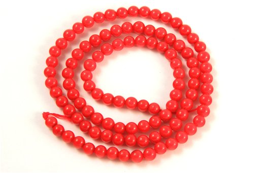Red Coral, 4mm, Round Shape Beads