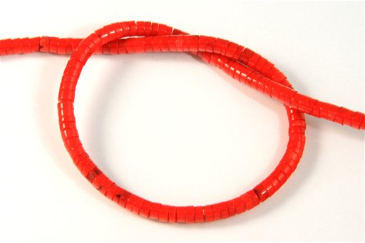 Red Coral, Irregular 4mm, Heishi Shape Beads