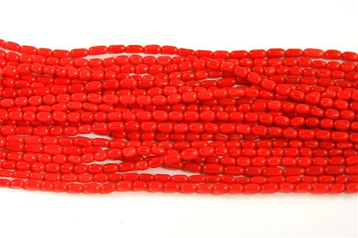Red Coral, Irregular 3x8mm, Natural Rice Shape Beads