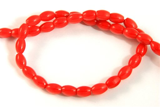 Red Coral, 6x8mm, Barrel Shape Beads