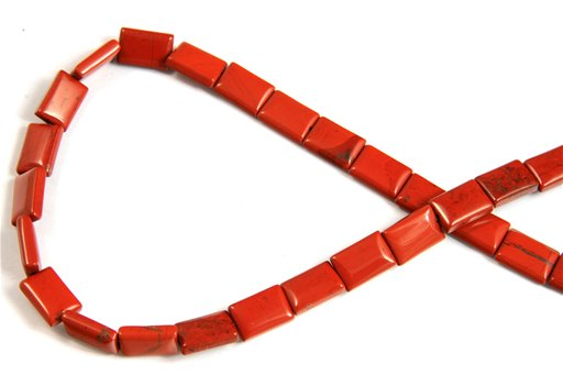 Red Jasper, 8x12mm, Puff Rectangular Shape Beads