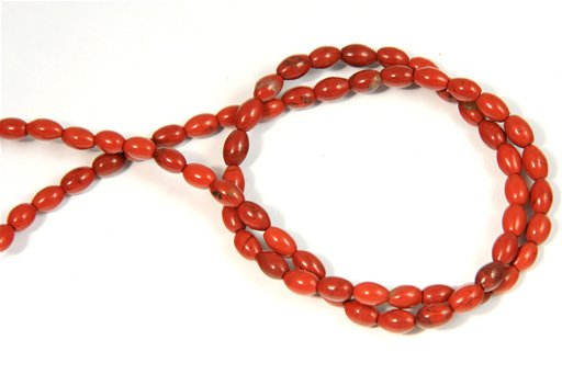 Red Jasper, 4x6mm, Rice Shape Beads