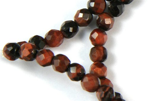 Red Tiger Eye, 4mm, Faceted Round Shape Beads