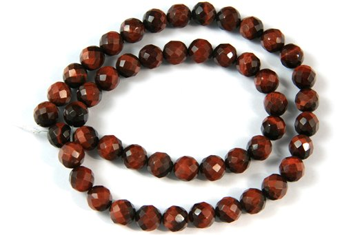 Red Tiger Eye, 8mm, Faceted Round Shape Beads