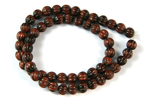 Red Tiger Eye, 8mm, Melon Shape Beads