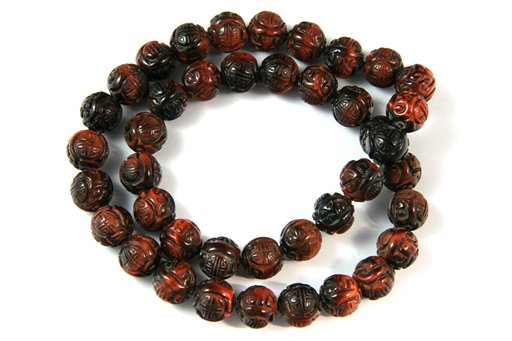Red Tiger Eye, 10mm, Oriental Dragon Round Shape Beads