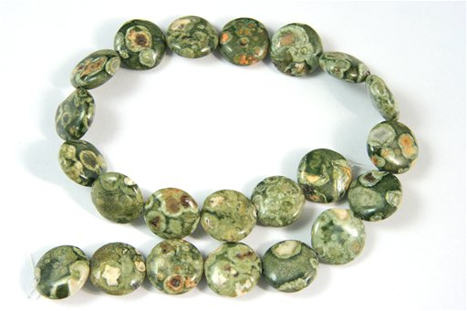 Rhyolite, 18mm, Puff Coin Shape Beads
