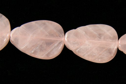 Rose Quartz, 15x20mm, Carved Flat Leaf Shape Beads