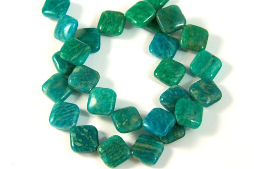 Russian Amazonite, 12mm, Puff Diamond Shape Beads