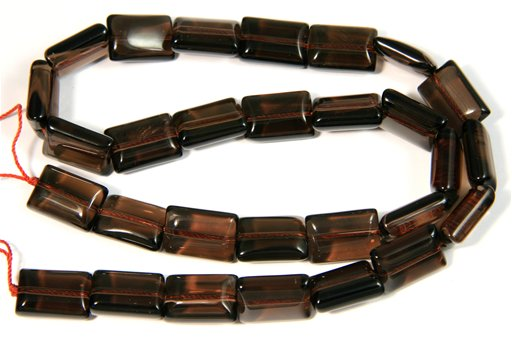 Smokey Quartz, 10x14mm, Puff Rectangle Shape Beads