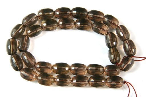 Smokey Quartz, 9x13mm, Faceted Barrel Shape Beads