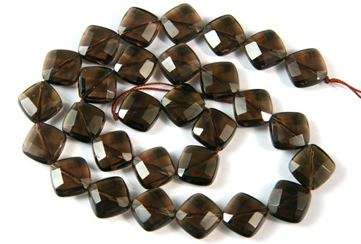 Smokey Quartz, 12mm, Faceted Diamond Shape Beads