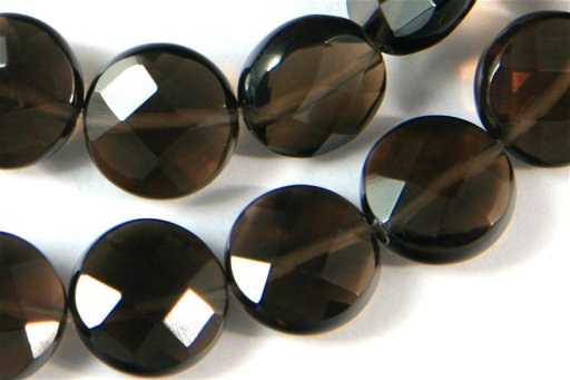Smokey Quartz, 10mm, Faceted Dime Shape Beads