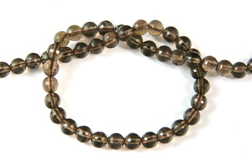 Smokey Quartz, 6mm, Faceted Round Shape Beads