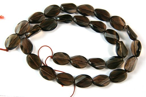 Smokey Quartz, 10x14mm, Faceted Twisted Oval Shape Beads