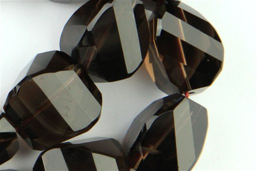Smokey Quartz, 14mm, Faceted Twisted Nugget Shape Beads