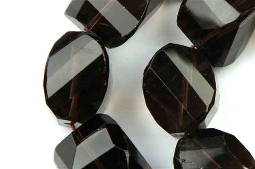 Smokey Quartz, 18mm, Faceted Twisted Nugget Shape Beads