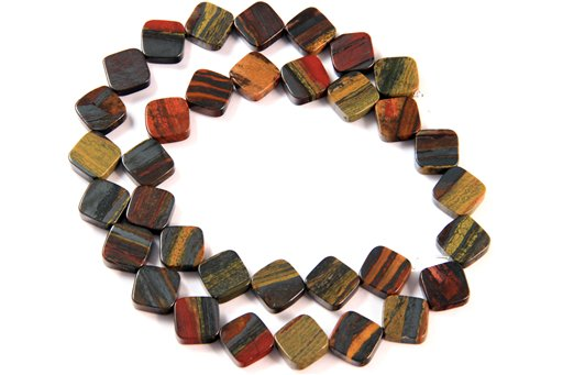 Sunset Jasper, 10mm, Flat Diamond Shape Beads