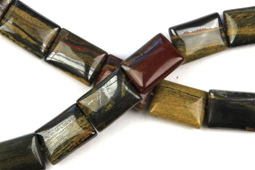 Sunset Jasper, 10x14mm, Puff Rectangular Shape Beads