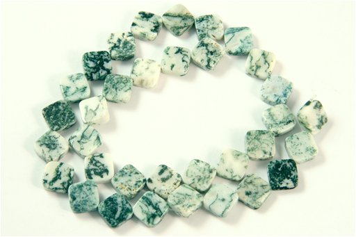 Tree Agate, 10mm, Flat Diamond Shape Beads