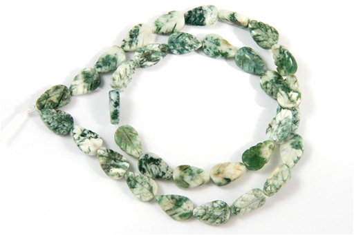 Tree Agate, 8x12mm, Carved Flat Leaf Shape Beads