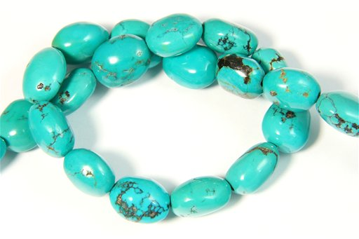 Turquoise (Genuine), 12x16mm, Pebble Shape Beads