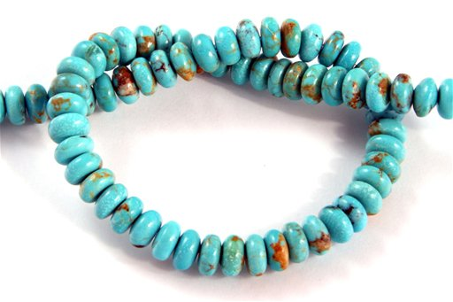 Turquoise (Genuine), 6mm, Rondelle Shape Beads