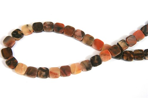 Turtle Shell Jasper, 10mm, Flat Square Shape Beads