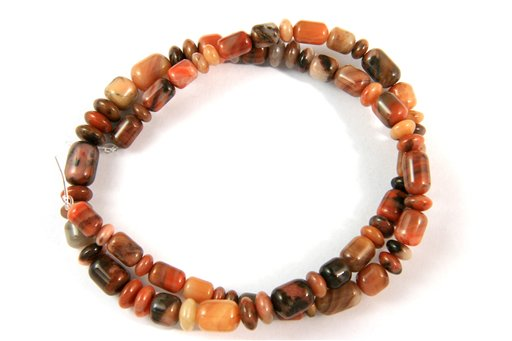 Turtle Shell Jasper, 5-7mm, Barrel Rondelle Assorted Shape Beads
