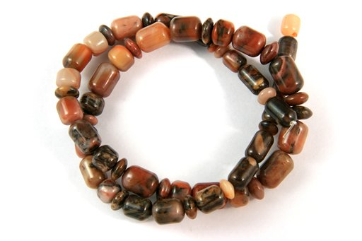 Turtle Shell Jasper, 8-10mm, Barrel Rondelle Assorted Shape Beads