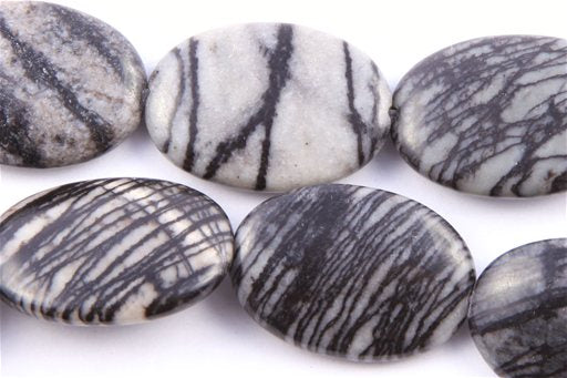 Web Jasper, 18x25mm, Oval Shape Beads
