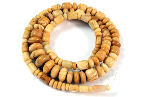 Yellow Jasper, 3-10mm, Barrel Rondelle Assorted  Shape Beads