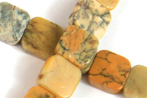 Yellow Moss Agate, 10mm, Flat Square Shape Beads