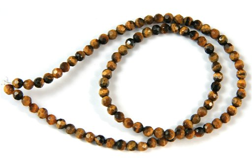 Yellow Tiger Eye, 4mm, Faceted Round Shape Beads