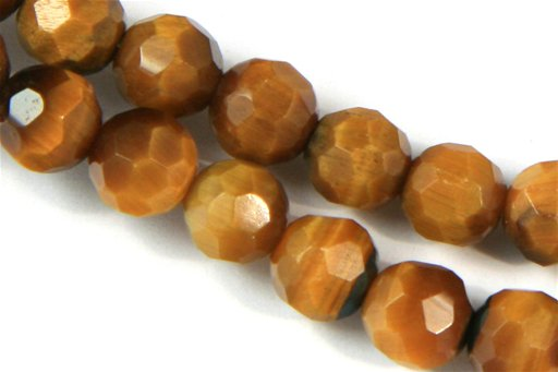 Yellow Tiger Eye, 6mm, Faceted Round Shape Beads