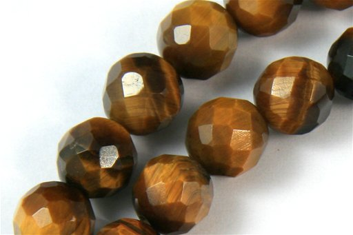 Yellow Tiger Eye, 8mm, Faceted Round Shape Beads