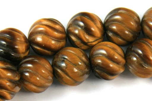 Yellow Tiger Eye, 10mm, Swirl Shape Beads